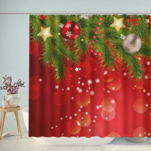 Red Christmas Bathroom Shower Curtain