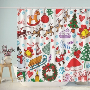 Hand-painted Merry Christmas Shower Curtain