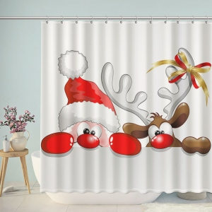Funny Santa and Elk Shower Curtain