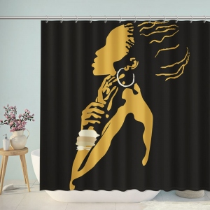 African Woman Print Shower Curtain