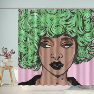 Pop Art Women with Green Hair Shower Curtain