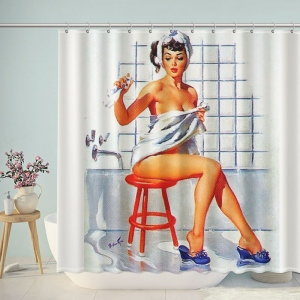 Vintage Pin-up Girl Bathing Drawings Shower Curtain