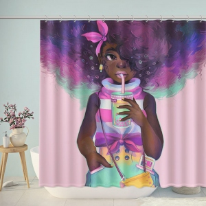 Black African Girl Drink Shower Curtain