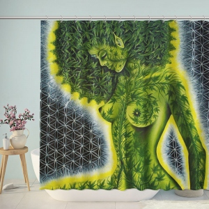 Green Naked Woman Art Weed Shower Curtain