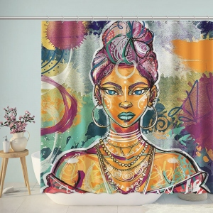 Multicolor India Woman Graffiti Bathroom Shower Curtain