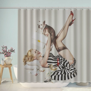 Fashion Women Play Cat Shower Curtain