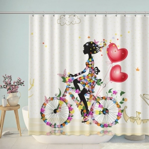 Flower Girl Ride Bike Shower Curtain