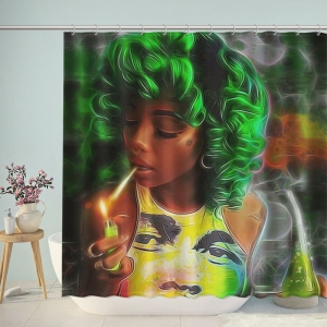 Fashion Smoking Girl Shower Curtain