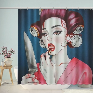 Fashion Women Makeup with Knife Bathroom Shower Curtain