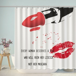 Lipstick and Lip Print Shower Curtain