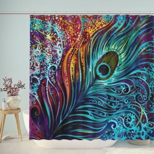 Peacock Feather Oil Painting Shower Curtain