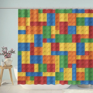 Kids Classic LEGO Building Blocks Shower Curtain