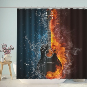 Guitar on Fire And Water Shower Curtain