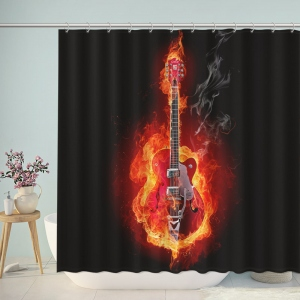 Electric Guitar on Fire Shower Curtain