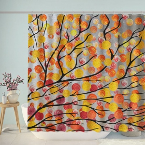 Watercolor Artistic Sweet Candy Tree Shower Curtain