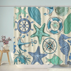 Nautical Pattern Themed Bathroom Shower Curtain