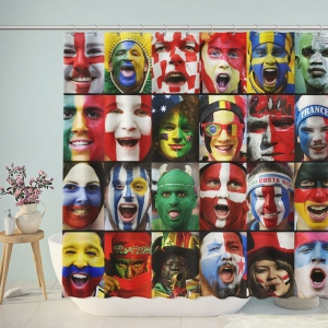 World Cup Football National Fans Shower Curtain