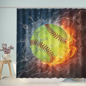 Baseball on Fire And Water Shower Curtain