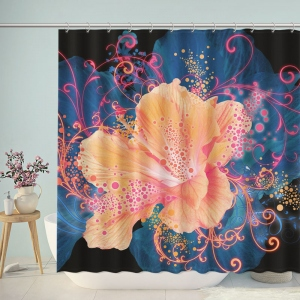 Abstract Floral Print Shower Curtain