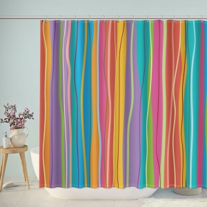 Colorful Irregular Stripes Shower Curtain