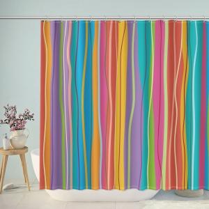 Colorful Irregular Stripes Shower Curtain