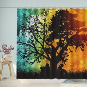 Awesome Lovers Under Tree Silhouette Shower Curtain