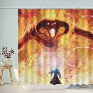 Gandalf Fight Balrogs Raging Flames Shower Curtain