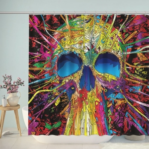 Colorful Artistic Skull Print Bathroom Shower Curtain