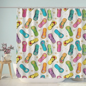 Cute Hand Painted Slippers Shower Curtain