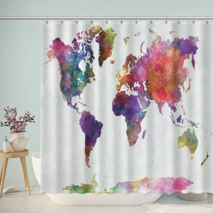 Watercolor Colorful World Map Print Shower Curtain