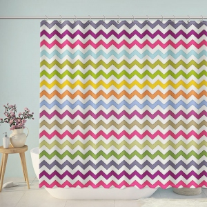 Colorful Wave Chevron Shower Curtain