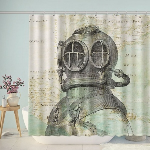 Vintage Scuba Diver Shower Curtain