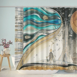 Violin Art Music Themed Shower Curtain