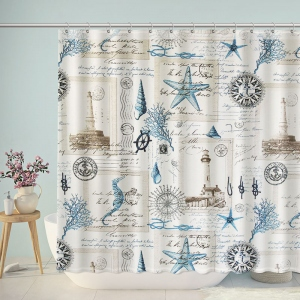 Vintage Maritime Marine Shower Curtain