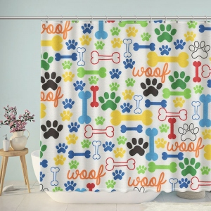 Colorful Pups Paw Skull Print Shower Curtain