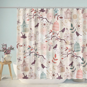Artistic Bird Cage Branches Shower Curtain