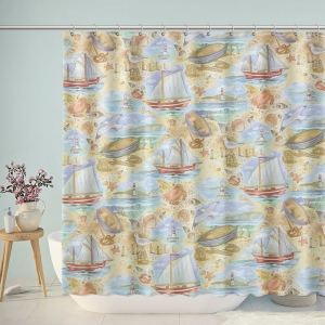 Vintage Seaside Painting Shower Curtain