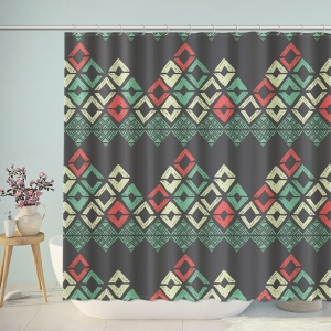 Tribal Print Big Chevron Shower Curtain