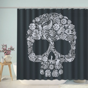 Flower Skull Art Print Shower Curtain