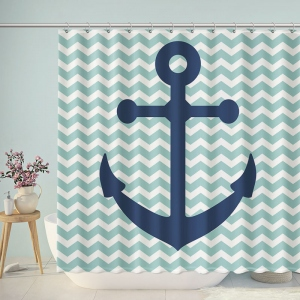 Anchors Magnificent Drop Anchor Chevron Shower Curtain
