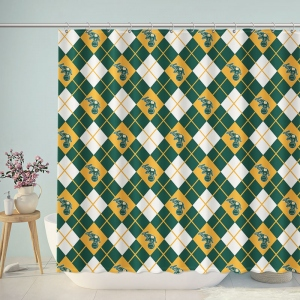 Vintage Circus Elephant Plaid Bathroom Shower Curtain
