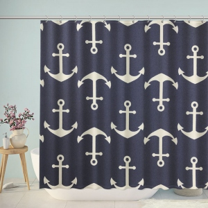 Navy Anchors Pattern Sail Shower Curtain