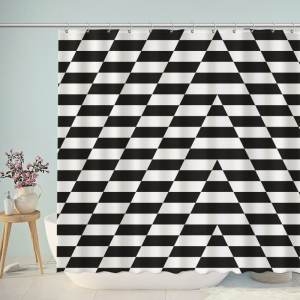 Irregular Black And White Chevron Shower Curtain