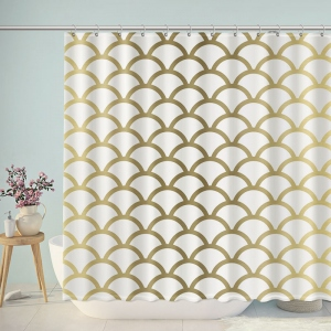 Golden Mermaid Fish Scales Shower Curtain