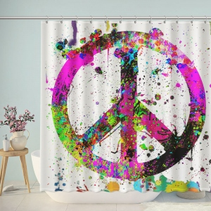 Doodle Colorful Peace And Love Shower Curtain