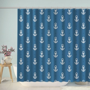 Blue Anchors Pattern Print Shower Curtain