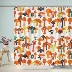 Colorful Mushroom Print Shower Curtain