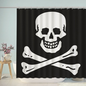Skull Bone Pirate Shower Curtain