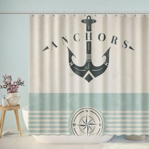 Vintage Ocean Lover Anchor Print Shower Curtain