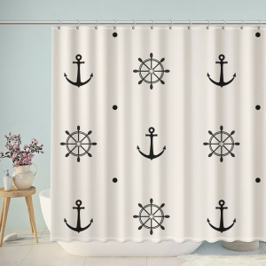 Anchors And Rudder Helm Print Shower Curtain